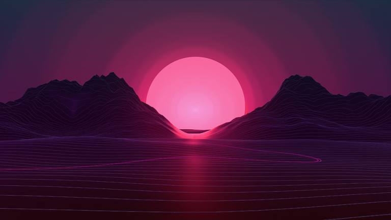 neon-sunset-retro-style-mountain-wallpaper-preview